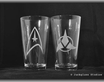 Pair of Etched Glass Star Trek  Hiball Tumblers by Jackglass on Etsy