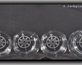 Personalized Etched Set of 4 Compass Rose Rocks Glasses Sand Caved for the Hiker, Adventurist, Nature Lover, Trail King by Jackglass on Etsy