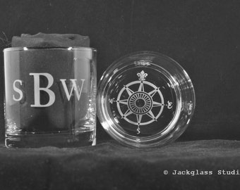 Personalized Etched Compass  Rocks Glasses Pair for the Sportsman, Hiker, Sailer, Unique Gift, Lattitude, Longitude by Jackglass on Etsy