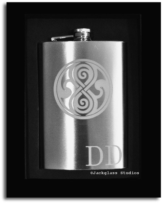 Dr. Who Tardis Etched Flask with Funnel by Jackglass on Etsy