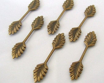 6 Antique Gold - Brass Leaf Fold Over Bails 7x35mm, Made in USA