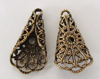 2 Antique Gold Folded Filigree Triangle Cone 16x29mm, Made in USA