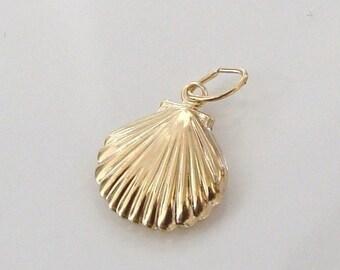 5pcs 14K Gold Filled Scallop Shell Charm