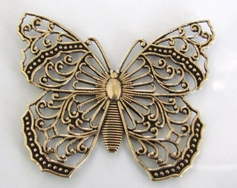 Antique Gold Filigree Butterfly 48x40mm - Vintage Look