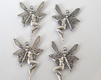 4 Antique Silver Fairy Charm (West and East) 18x26mm, Made in USA