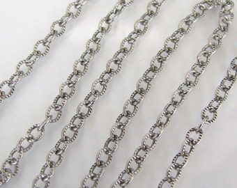 3 Feet - Antique Silver 4mm Etched Cable Chain - Trinity Brass Co.