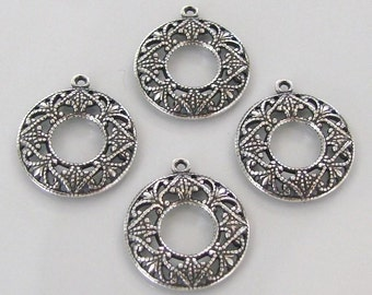 4 Pcs Antique Silver - Brass Filigree 17mm Round Charms, Made in USA, AS30