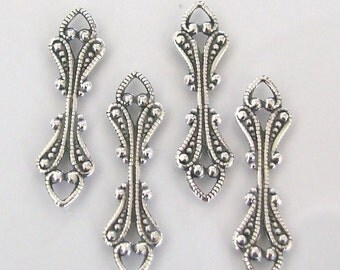 6 Antique Silver Fold Over Bails 6.6x25mm, Made in USA