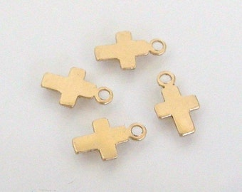 5 Pcs. - 14K Gold Filled Tiny Cross Charms 5x8mm, Made in USA