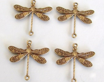 4 Antique Gold - Brass Dragonfly Connectors 17x16mm, Made in USA