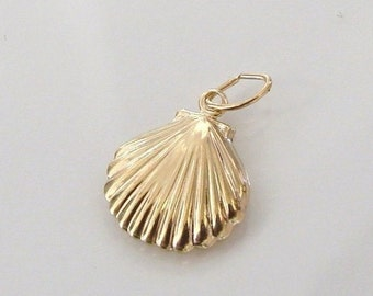 One 14K Gold Filled Scallop Shell Charm