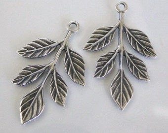 2 Antiqued Silver Leaf Branch Charms 23x36mm