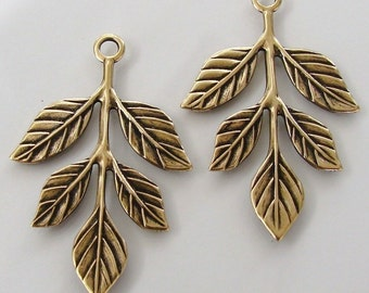 2 Antiqued Gold Leaf Branch Charms 23x36mm, Made in USA
