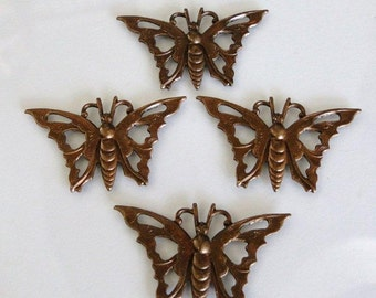 4 Vintage Patina Butterfly Stampings 35x21mm - Trinity Brass Co.