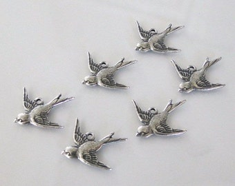 6 Silver Bird Charms (West) 17x16mm