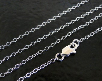 18 Inch Solid Sterling Silver Cable Chain Necklace - Custom Lengths Available