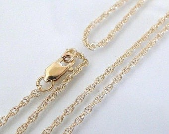 18 Inch - 14K Gold Filled 1.3mm Rope Chain With Clasp - Custom Lengths Available