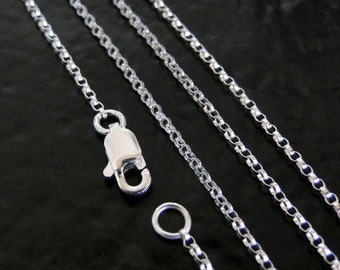 17 Inch Sterling Silver 1.2mm Rolo Chain Necklace - All Lengths Available, Made in USA/Italy