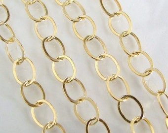 18 Inch 14K Gold Filled Chain By The Foot - 8.8x6.6mm Oval Links - Custom Lengths Available