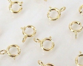 50 Pcs - 14K Gold Filled 5mm Spring Ring Clasp, Made in Italy