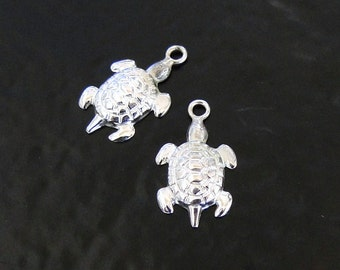 2 Sterling Silver Turtle Charms, Made in USA, SC15