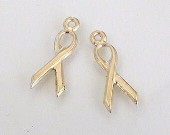 2 Gold Filled Ribbon Charms 6x15mm, MADE IN USA, Lead and Nickel Free