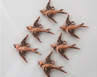 6 Antique Copper Bird Charms (West) 17x16mm, Made in USA, AC1