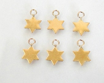 2 - 14K Gold Filled Tiny Star Charms 7mm, MADE IN ISRAEL