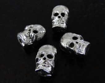 2 Silver Plated Brass Skull Beads - Steampunk, Goth, Rock and Roll