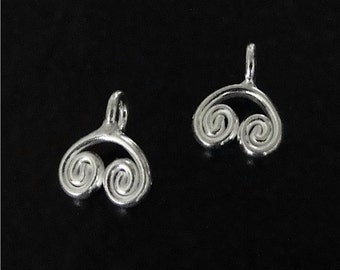 One Sterling Silver Twisted Charms 12x10mm, Made in Thailand, SS31