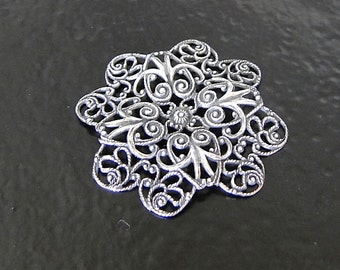 Antique Silver Filigree Flower Wrap 40mm