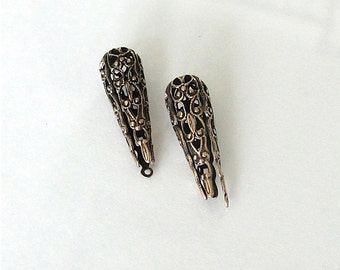 2 Antique Gold Folded Filigree Triangle Cone 9x27mm - Trinity Brass Co., Lead and Nickel Free