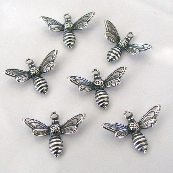 6 Antique Silver Bee Charms 17x13mm - Vintage Look - Trinity Brass Co.