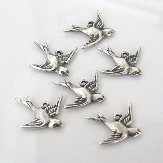Reserved 12 Antique Silver Bird Charms (East) 17x16mm - Trinity Brass Co.