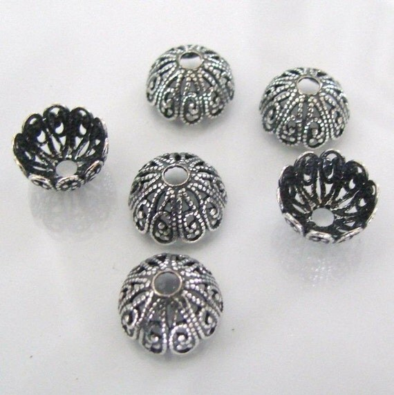 6 Antique Silver 12mm Filigree Bead Caps - Trinity Brass Co.