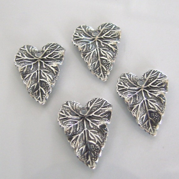 4 Antique Silver Leaf Charms 14x18mm
