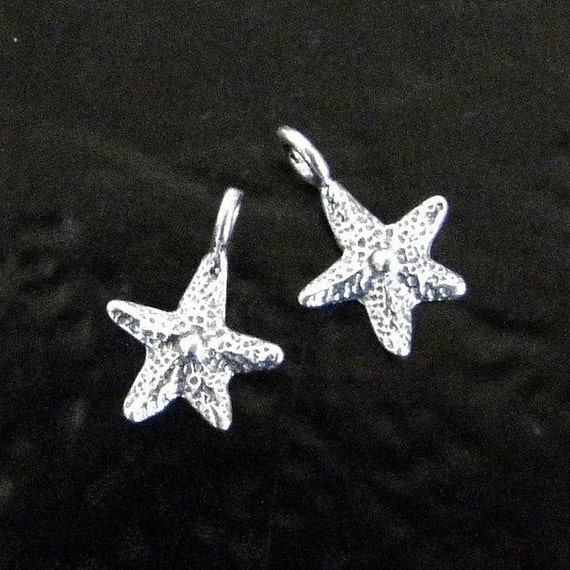 One Tiny Sterling Silver Starfish 14mm - MADE IN ISRAEL