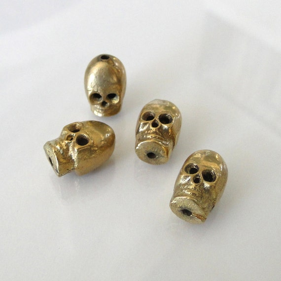 2 Solid Brass Skull Beads - Steampunk, Goth, Rock and Roll