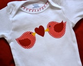 Valentines Day Love Birds Appliqued Onesie or Shirt - LIMITED TIME ONLY