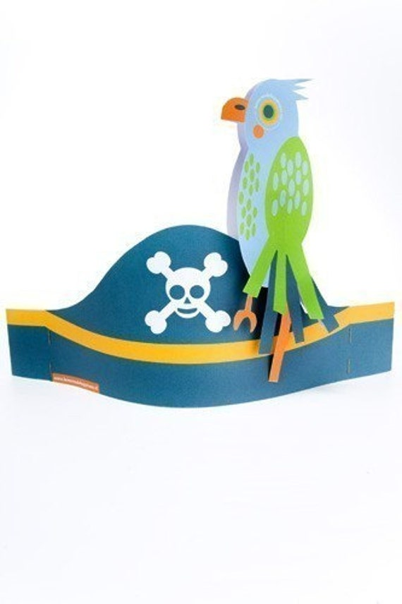 Pirate Party Hats \/ eye patches \/ parrot (Printable PDF)