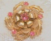 Vintage Pink Blossom Rhinestone Brooch