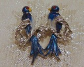 Vintage Bluebirds Sharing a Branch Brooch