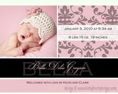 Instant Download - Photoshop PSD layered Templates for Photographers - Birth Announcement card - Bella Design (from the Simply Sweet set)