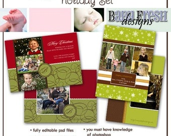 Instant Download - Photoshop PSD layered Templates for Photographers - Holiday card set - Jingle set