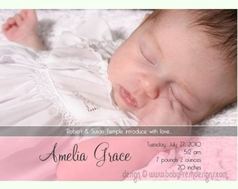 Instant Download - Photoshop PSD layered Templates for Photographers - Birth Announcement - Amelia Design (from the All About the Image set