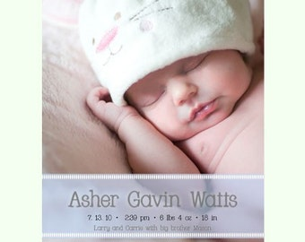 Instant Download - Photoshop PSD layered Templates for Photographers - Birth Announcement - Asher Design (from the All About the Image set)