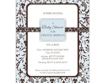 Blue and Brown Damask Lace Baby Boy Shower Invitation • PRINTED on CARDSTOCK