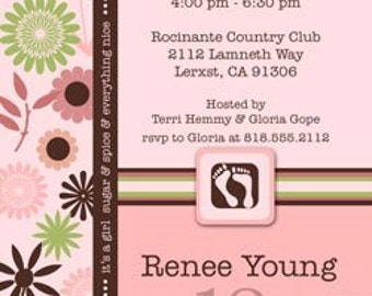 Baby Girl Baby Shower Invitation • Pink and Green Baby Shower Invite • PRINTED on CARDSTOCK