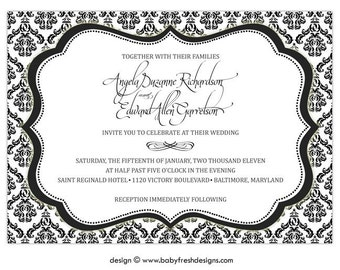 Black and White Wedding Invitation • Sophisticated Bridal Shower Invite • PRINTED on CARDSTOCK