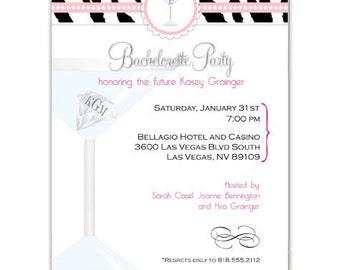 Monogram Bachelorette Party Invitation • Martini Bridal Shower Invite • PRINTED on CARDSTOCK